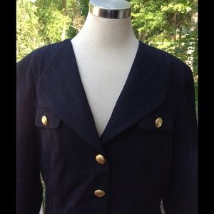 Christian Dior Navy Blue Gold Button Blazer